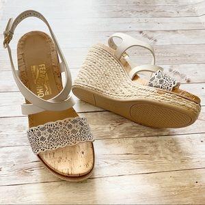 Salvatore Ferragamo White Espadrille Wedge Sandals